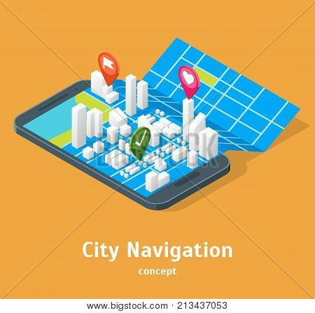 Mobile GPS City Navigation Maps Concept 3d Isometric View Positioning Location Application Navigator Smartphone. Vector illustration of Map in Phone