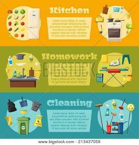 Household set and cleaning supplies banners. Kitchen and housework. Cartoon vector illustration. Mop and bucket, spray and sponge, brush and glove, broom and vacuum cleaner, trash cans, iron, fridge, cooker, squeegee