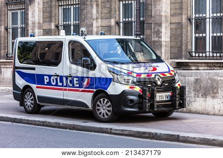 Paris France - July 03 2017: Renault truck of the Prefecture of Police of Paris on the Cite Island. The Paris Police Prefecture is the unit of the French National Police which provides the police force for the city of Paris.