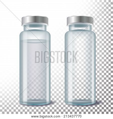 Medical Ampule Vector. 3D Realistic Transparent Glass Medical Ampule. Isolated