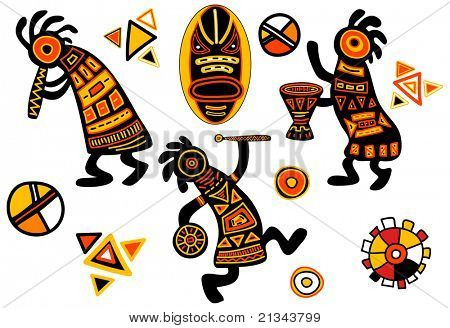 Rasterized version of vector african traditional patterns - dancing musicians