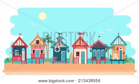 Beach bungalow hotel. Summer huts landscape. Vector