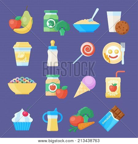 Baby food icon set. Healthy, simple meal, nutrition made specifically for babies feeding. Vector flat style cartoon illustration isolated on blue background
