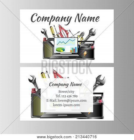 Auto repair business card template. Vector illustration.