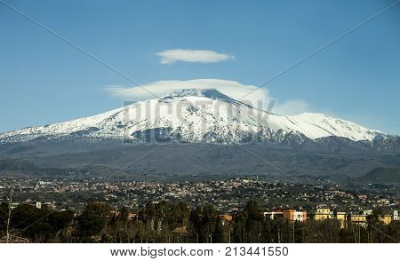 Mount Etna volcano with snow. Sicily, Italy. Mount Etna volcano with snow. The great snow-capped Mount Etna, volcanic mountain of Sicily in Italy.