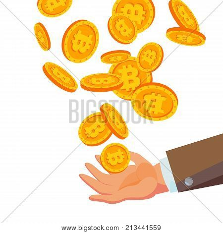 Bitcoins Falling To Business Hand Vector. Flat, Cartoon Gold Coins Illustration. Cryptography Finance Coin Design. Fintech Blockchain. Currency