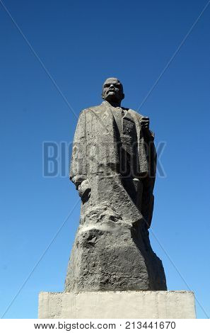 Former Soviet anti-ballistic missile testing range Sary Shagan.Lenin monument from Soviet time. West Bank of Balkhash Lake.May 10, 2017.Priozersk.Kazakhstan