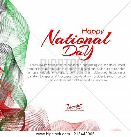 Template With Colors Of The National Flag Of United Arab Emirates (uae) Happy National Day Vector