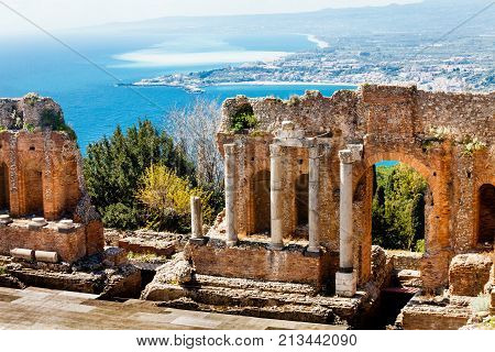The Ancient theatre of Taormina. Landscape. The Ancient theatre of Taormina (Teatro antico di Taormina in italian language) is an ancient Greek theatre, in Taormina, southern Italy.