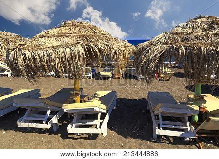 most famous beach on Santorini island, Kamari beach, Santorini,