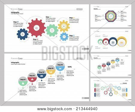 Infographic design set can be used for workflow layout, diagram, report, presentation, web design. Business and strategy concept with process, step, comparison, venn, stage and flow charts.