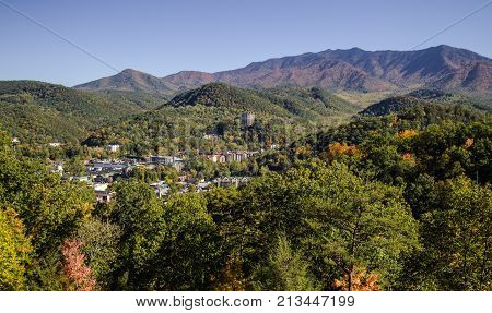 Overlook View Of Gatlinburg. View of the popular resort town of Gatlinburg Tennessee surrounded by the Great Smoky Mountains National Park.