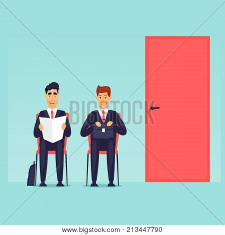 Interviewing, job search, businessmen are sitting at the door. Flat design vector illustration.
