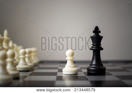 Business competition of small and large businesses Team leadership and company concept Chess board game with copy space for your text