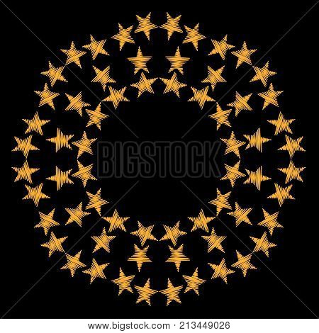 Round frame with gold star on the black background. Holiday fashion embroidery pattern.