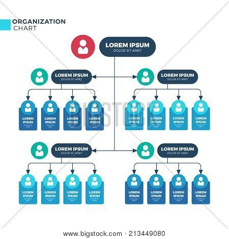 Business structure of organization. Vector organizational structural hierarchy chart with employees icons. Illustration of business chart organizational hierarchy human