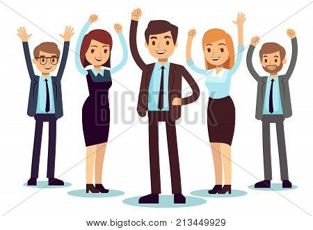 Happy office people. Successful business man and woman vector character. People office success, business professional male and female illustration