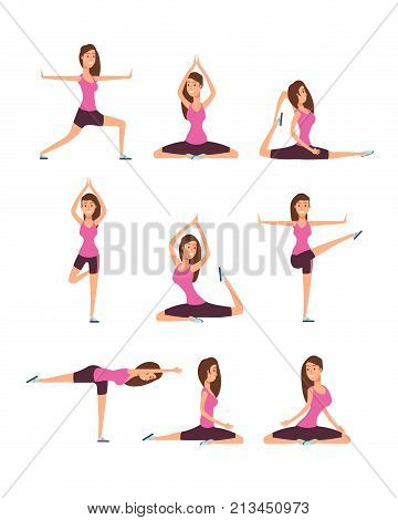 Young woman making yoga exercises and meditation. Fitness girl in training asana postures vector set. Yoga female training, fitness exercise for relax ande balance illustration
