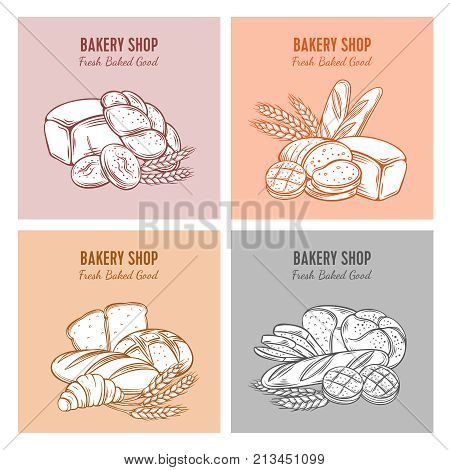 Food template banners with bread for product bakery design . Hand drawn sketch rye and wheat bread, croissant, whole grain bread, bagel, toast bread, french baguette for design menu bakery shop.