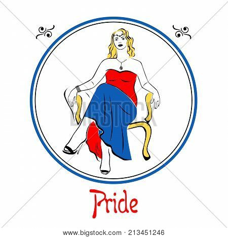 Illustration with a woman on the theme of pride.