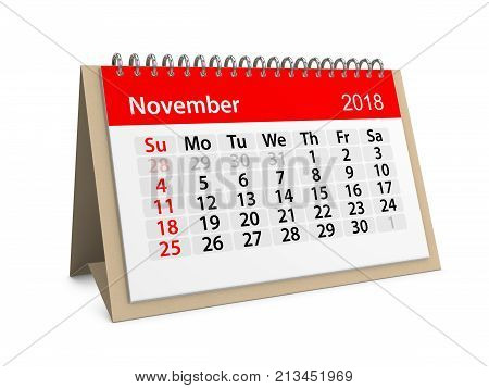 Monthly table calendar for November 2018. 3d illustration