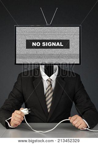 businessman with tv head mass media concept