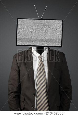 businessman with blank tv head on dark background
