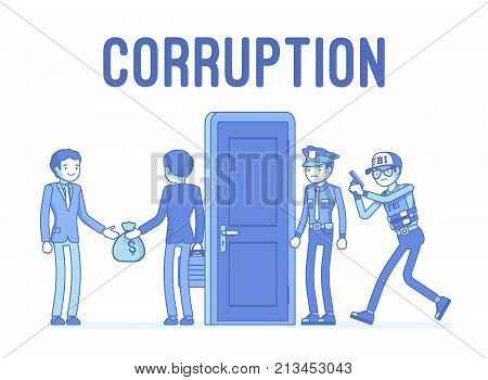 Officials arrested in corruption case. Policemen with warrant are waiting to catch and accuse business people, investigation of dirty deal. Vector lineart concept illustration