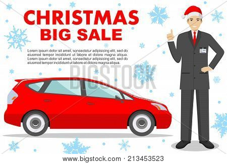 Christmas and New Year big sale. Smiling salesperson in the Santa Claus hat showing the car. Auto business car sale concept. Detailed illustration of businessman and red auto on white background in flat style.