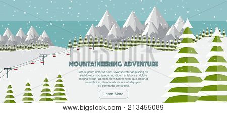 Alps fir trees ski lift mountains wide panoramic background. Mountaineering adventure. Winter web banner design. Flat mountaineering vector illustration. Ski resort, winter landscape.