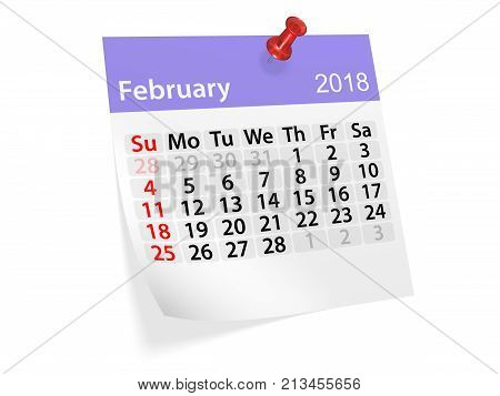Monthly pinned note calendar for February 2018. 3d illustration