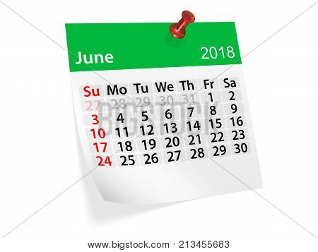 Monthly pinned note calendar for June 2018. 3d illustration