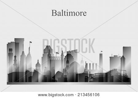 Baltimore city skyline silhouette in grayscale vector illustration