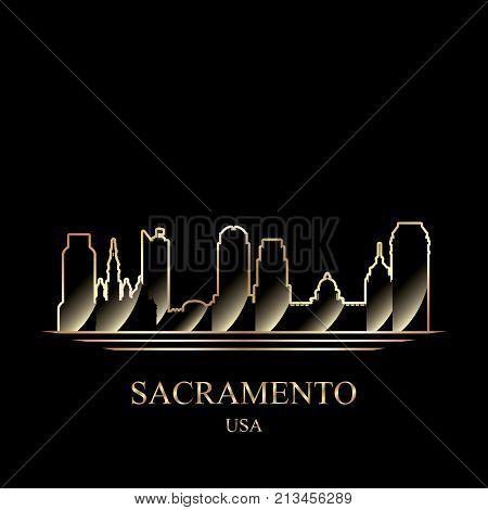 Gold Silhouette Of Sacramento On Black Background