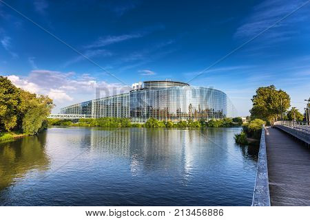 The Building Of European Parliament In Strasbourg.