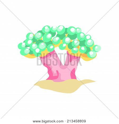 Cartoon illustration of bubble coral on sandy ocean bottom. Beautiful underwater world concept. Colorful tropical plant on sand. Marine flora. Vector in flat design isolated on white background.