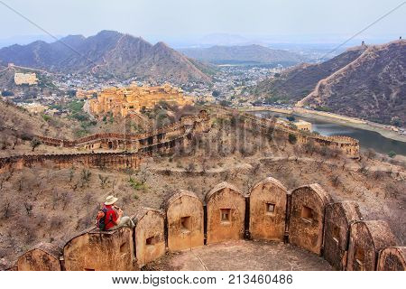 Defensive walls of Jaigarh Fort on Aravalli Hills near Jaipur Rajasthan India. The fort was built by Jai Singh II in 1726 to protect the Amber Fort