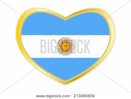 Flag of Argentina in heart shape isolated on white background. Golden frame. Vector. Argentinean national official flag. Argentine Republic patriotic symbol banner element