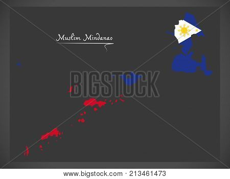 Muslim Mindanao Map Of The Philippines With Philippine National Flag Illustration