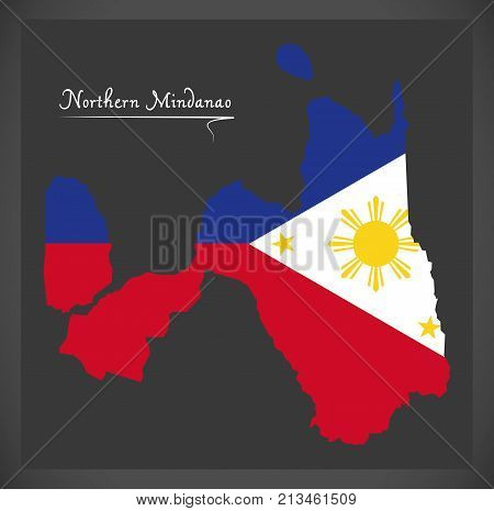 Northern Mindanao Map Of The Philippines With Philippine National Flag Illustration