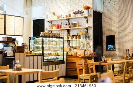 Bangkok Thailand - July 27 2017 : Interior dessert cafe at INT - Intersect Rama 3 for sale honey toast cake drink and ice cream