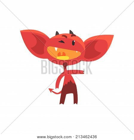 Funny red devil with little horns, big ears and tail with arrow tip end. Cartoon fictional character with joy face expression. Isolated flat vector illustration. Design for card, sticker, shirt print.