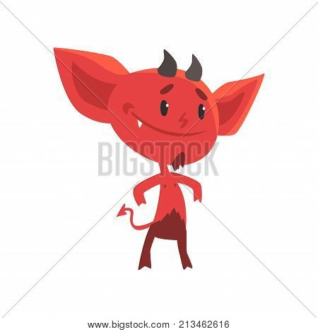 Self-confident smiling red devil stands isolated on white background. Cartoon fictional character with little horns, big ears and tail. Vector illustration in flat design isolated on white background.