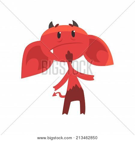 Upset devil character with big drooping ears, horns, tail and beard. Comic red demon. Cartoon isolated flat vector illustration. Design for social network emoji, shirt print, sticker, card or poster.