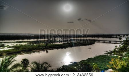Aerial view to Niger river in Niamey at sunset Niger
