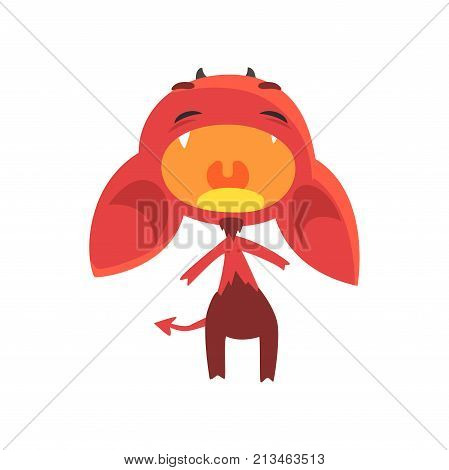 Loudly crying little devil stands isolated on white background. Red fictional demon with horns, big ears and tail. Cartoon flat character. Vector design for kids t-shirt print, sticker, card or poster