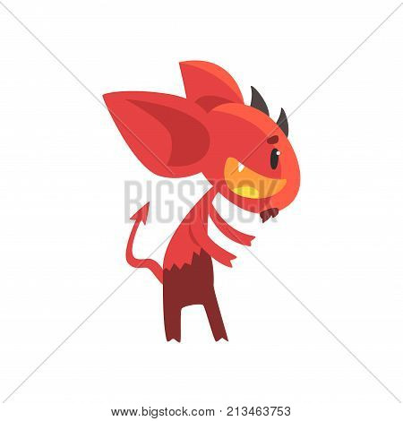 Little horned devil posing with happy face. Cartoon fictional demon character with big ears, tail and beard. Flat design for emoji, sticker, card or kid print. Vector illustration isolated on white.
