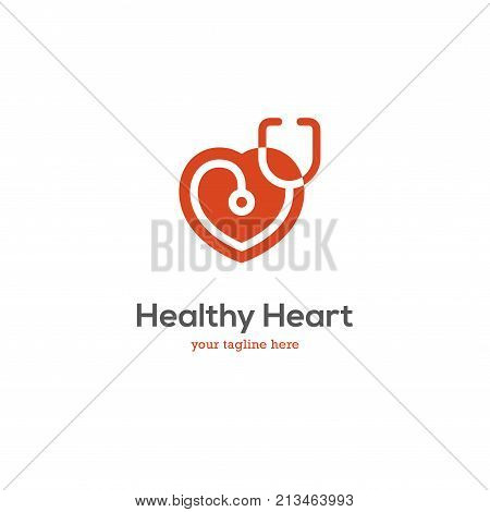 Heart icon with stethoscope. Cardiology health care center clinic logo.