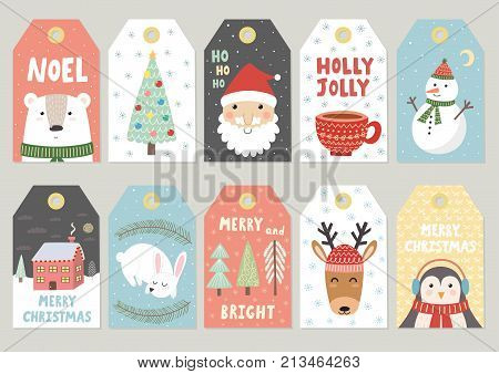 Christmas tags cute collection. Labels with Santa, bear, rabbit, deer, penguin and snowman. Vector illustration