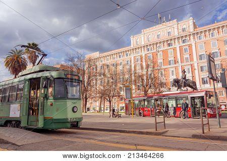 Tram Standing In Piazza Risorgimento In Rome